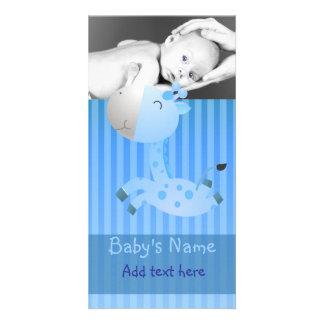 Giraffe Baby Announcement Custom Photo Card