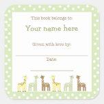 Giraffe Friends Baby Shower Book Plate Neutral Gen Square Sticker