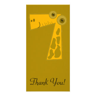 Giraffe Number Seven Personalized Photo Card