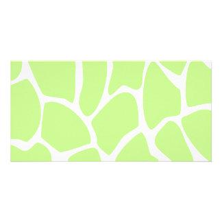 Giraffe Print Pattern in Light Lime Green. Photo Greeting Card