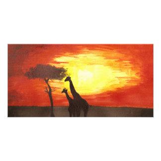 Giraffe Silhouette Photo Greeting Card