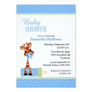 Giraffe with Baby Bottle Shower 13 Cm X 18 Cm Invitation Card