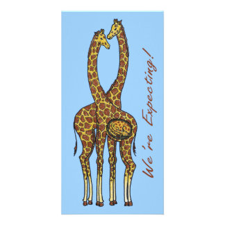 Giraffes Expecting Announcement Photo Greeting Card