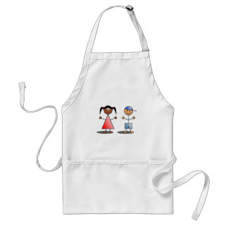 Girl and Boy Stick Figures Standard Apron