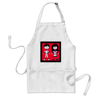 Girl and Boy Stick People Standard Apron
