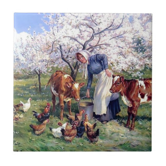 Girl Feeding Farm Animals Painting Small Square Tile