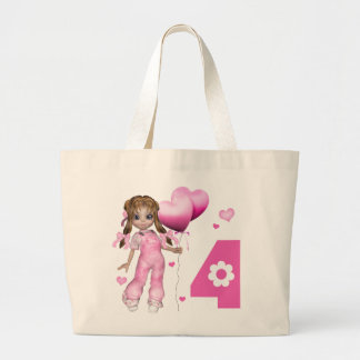 Girl Hearts 4th Birthday Jumbo Tote Bag