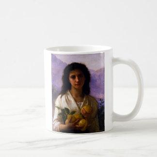Girl Holding Lemons by William-Adolphe Bouguereau Basic White Mug