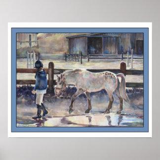 Girl Leading Her Pony Artwork Poster