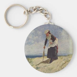 Girl on beach - Giuseppe de Nittis Basic Round Button Key Ring