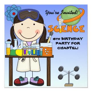 Girl Science Birthday Party Invitation