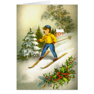 Girl ski-ing greeting card