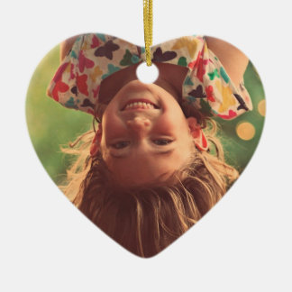 Girl Upside Down Smiling Child Kids Play Ceramic Heart Decoration