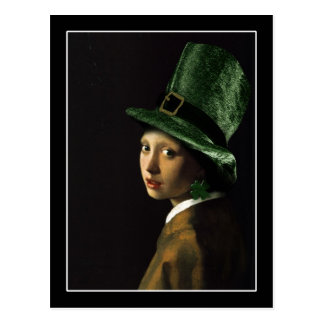 Girl With The Shamrock Earring - St Patrick's Day Postcard