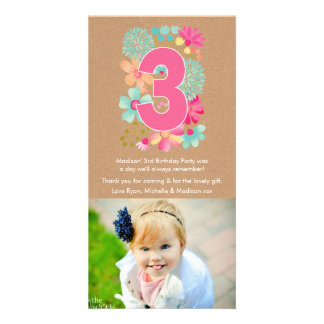 Girls 3RD Birthday Number 3 Thank You Photo Card