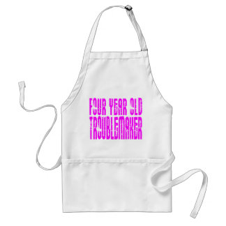 Girls Funny Birthdays  Four Year Old Troublemaker Standard Apron