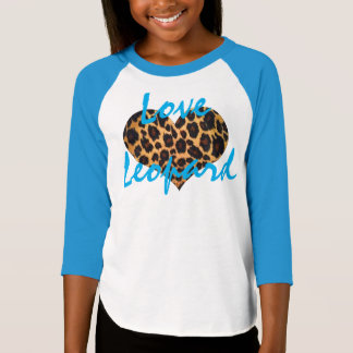 Girls' Love Leopard Raglan T-Shirt, blue Tee Shirts
