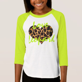 Girls' Love Leopard Raglan T-Shirt, yellow-green T-shirt
