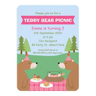 Girls Teddy Bear Picnic Banner Birthday Invitation