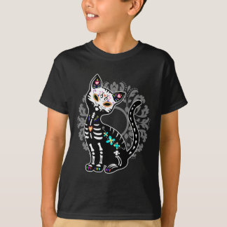 Girly Day of the Dead cute skeleton cat custom Tshirts