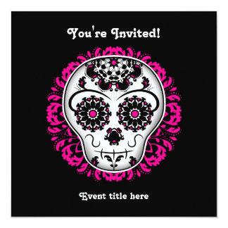 Girly day of the dead sugar skull party 13 cm x 13 cm square invitation card