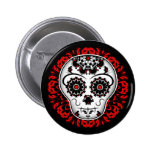 Girly day of the dead sugar skull red and black 6 cm round badge