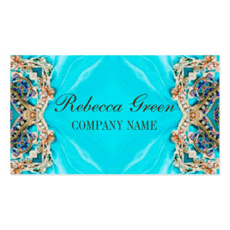 girly fashion turquoise Embellishments bohemian Pack Of Standard Business Cards