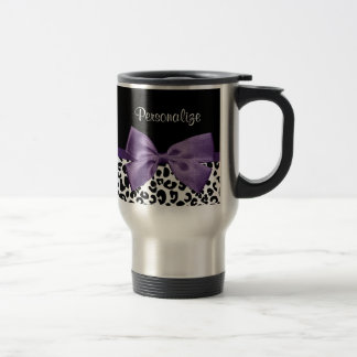 Girly Leopard Print Pretty Purple Ribbon With Name Stainless Steel Travel Mug