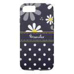 Girly Mod Daisies and Polka Dots With Name iPhone 7 Case