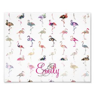 Girly Monogram Retro Floral Flamingos Pattern Photographic Print