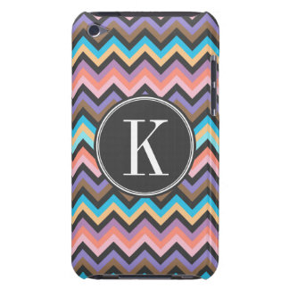 Girly Multicolor Chevron with Charcoal Monogram iPod Touch Cases