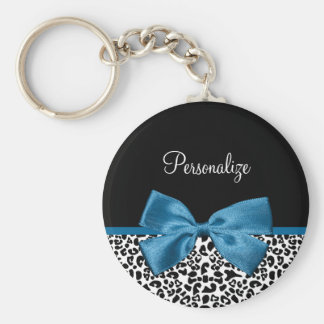 Girly Name Leopard Print Pretty Cobalt Blue Ribbon Basic Round Button Key Ring