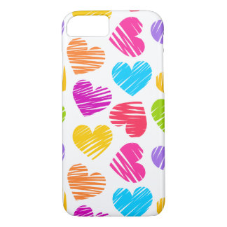 Girly pastel love hearts pattern iPhone 7 case