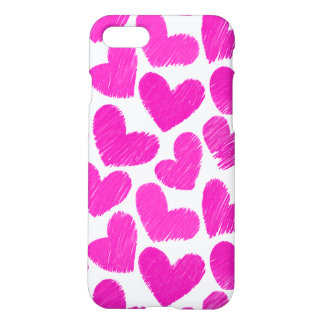 Girly pastel pink love hearts pattern iPhone 7 case