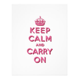 Girly Pink Keep Calm and Carry On 21.5 Cm X 28 Cm Flyer