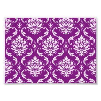 Girly Purple Damask Pattern Photo Print
