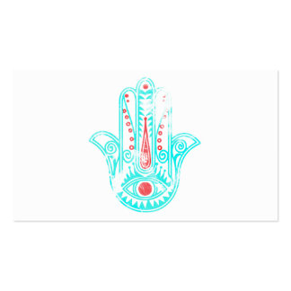 Girly red teal watercolor Hamsa Hand of Fatima Pack Of Standard Business Cards