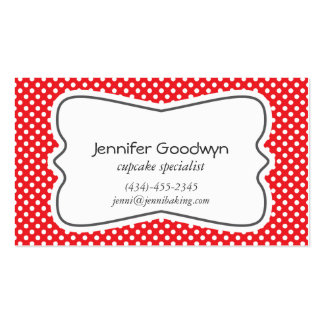 Girly Red White Polka Dots Business Card