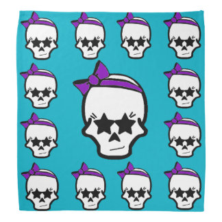 Girly Starry Eyed Skull with a Purple Bow Bandanna