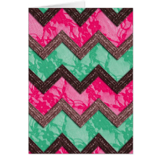 Girly Trendy Pink green zig zag lace Greeting Card