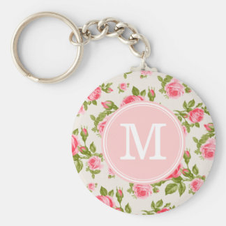 Girly Vintage Roses Floral Monogram Basic Round Button Key Ring