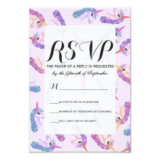 Girly Watercolor Unicorns Pattern in Pink Purple 9 Cm X 13 Cm Invitation Card