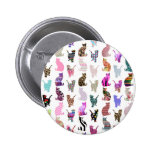 Girly Whimsical Cats aztec floral stripes pattern 6 Cm Round Badge