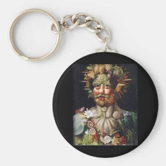 Giuseppe Arcimboldo Vegetable Man (Vertumnus) Basic Round Button Key Ring