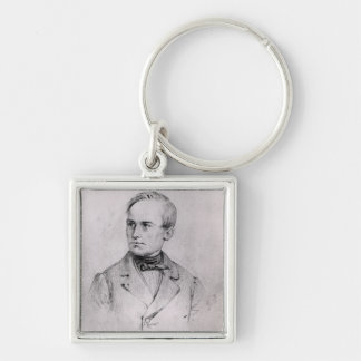 Giuseppe Mazzini (1805-72) 1830 (charcoal) (b/w ph Silver-Colored Square Key Ring