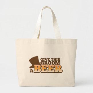 GIVE THIS GROOM A BEER wedding marriage beer Jumbo Tote Bag