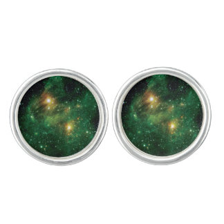 GL490 Green Gas Cloud Nebula Cuff Links