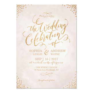 Glam blush glitter rose gold calligraphy wedding 13 cm x 18 cm invitation card