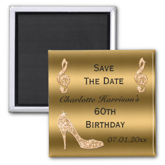 Glamorous 60th Save The Date Gold Stiletto Square Magnet