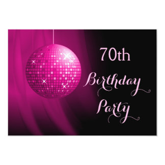 Glamorous 70th Birthday Hot Pink Party Disco Ball 13 Cm X 18 Cm Invitation Card